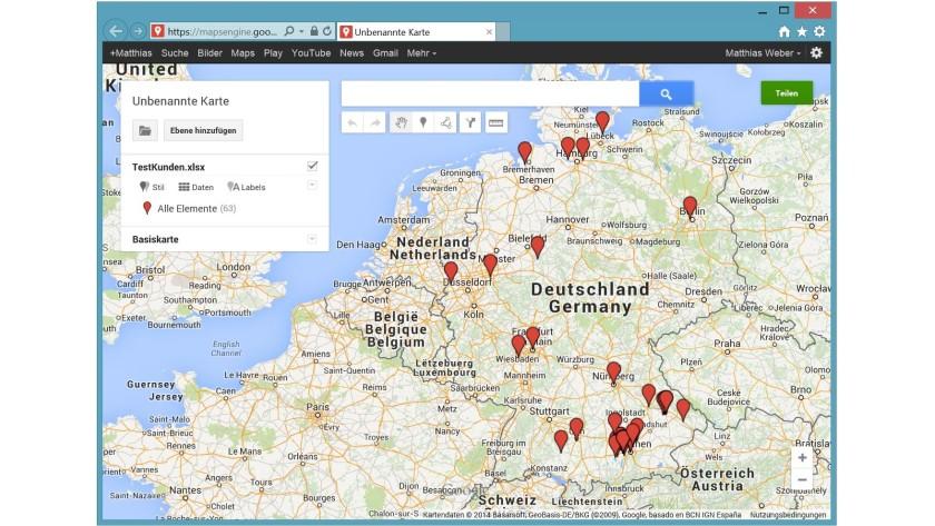 """Beispiel einer Google-Karte mit allen roten Kunden der Kategorie """"Handeln""""."""